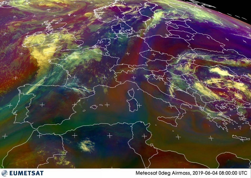 Carte masses d'air Europe