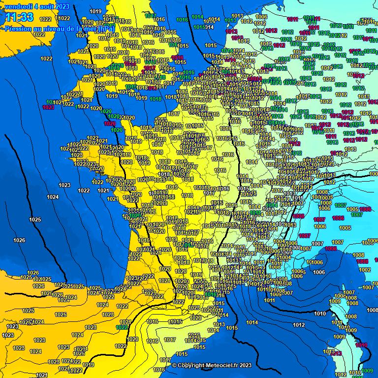 Carte pression atmosphérique